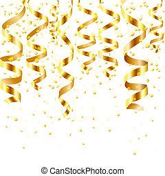 goud, het krullen, stroom