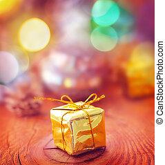 goud, houten, cristmas, versiering, plank, kado