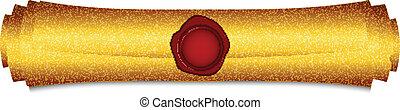 goud, illustratie, boekrol, vector