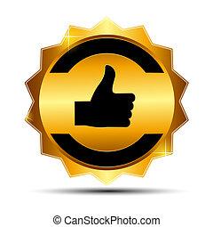 goud, illustratie, etiket, vector, mal, meldingsbord