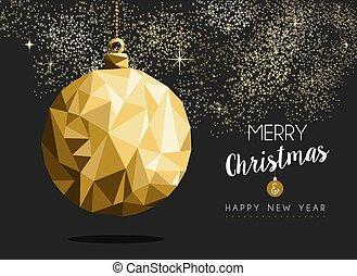 goud, jaar, kerstmis, vrolijk, nieuw, origami, bauble, ...