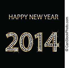 goud, jaar, vector, 2014, nieuw, vrolijke