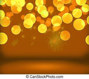 goud, jaarwisseling, achtergrond, toneel
