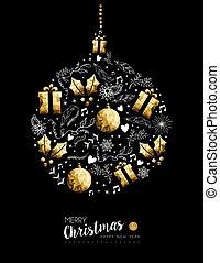 goud, kerstversiering, jaar, nieuw, bauble