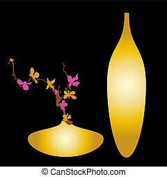 goud, kleur, lente, vaas, verse bloemen