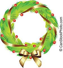 goud, krans, kerstmis, lint