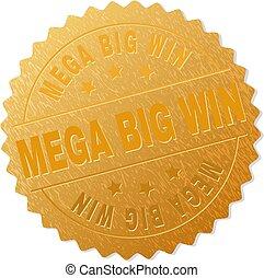 goud, mega, postzegel, groot, winnen, medaille