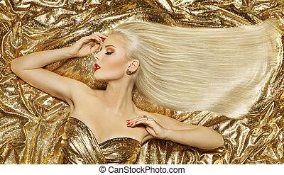 goud, mode, ?f?? t???a?, blonde, vrouw, hairstyle, gouden, lang, recht haar, op, luxe, kleuren achtergrond