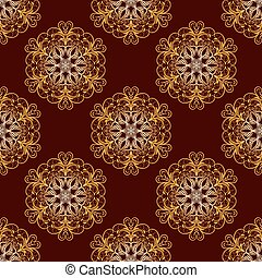 goud, model, seamless, vector, floral, mandala