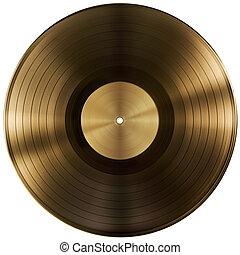 goud, of, vinylverslag, schijf, vrijstaand, met, knippend...