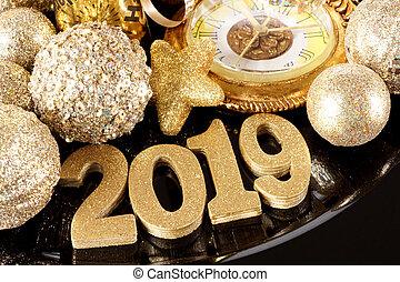 goud, op, nieuwe jaren, 2019, getallen, achtergrond, afsluiten, black , glanzend, decor