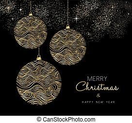 goud, ornament, kerstmis, jaar, nieuw, bauble