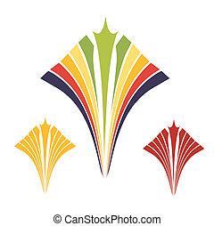 goud, ornament, spiraal, kleurrijke, tijdgenoot