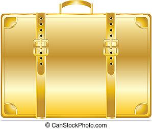 goud, ouderwetse , aktentas