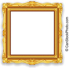 goud, ouderwetse , frame