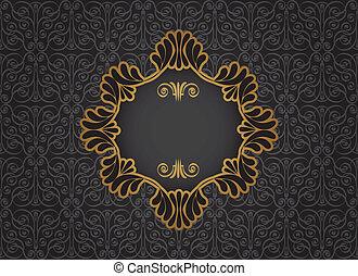 goud, ouderwetse , frame, op, black