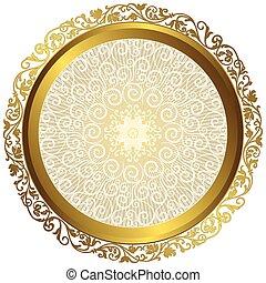 goud, ouderwetse , frame, vrijstaand, witte , ronde