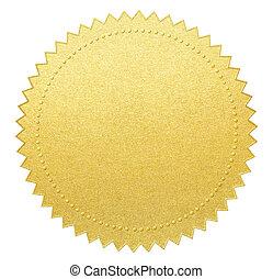 goud, papier, zeehondje, of, medaille, met, knippend pad,...