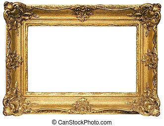 goud, plated, houten afbeelding omlijsting, met, knippend...
