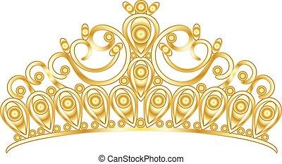 goud, prinsessenkroon, kroon, vrouwen, trouwfeest, met, stenen