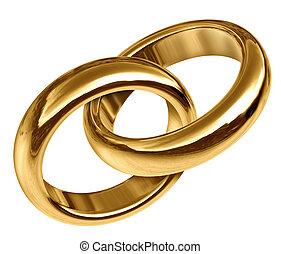 goud, ringen, aangesluit, samen, trouwfeest