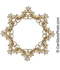 goud, ronde, frame, element, ontwerp
