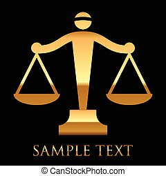 goud, schalen, justitie, vector, zwarte achtergrond, pictogram