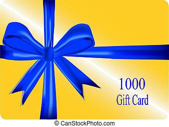 goud, schenking kaart, met, blauw lint