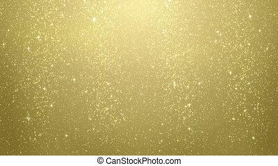 goud, schitteren, partikels, het vallen, lus
