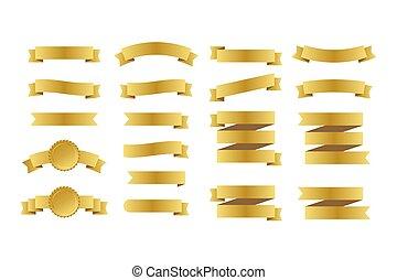 goud, set, banners., illustration., linten, vector, ribbons.