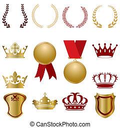 goud, set, rood, versieringen