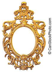 goud, sierlijk, ovaalvormige omlijsting