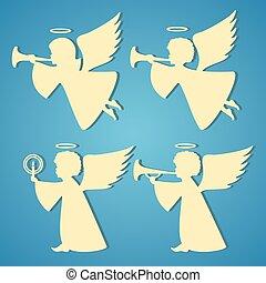 goud, silhouettes, van, engelen, op, blauwe achtergrond