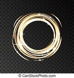 goud, sparkles., effect, neon belicht, cirkel