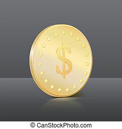 goud, teken., dollar, illustratie, vector, munt