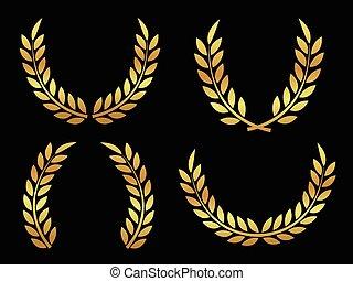 goud, toewijzen, laurels
