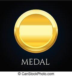 goud, toewijzen, teken, vector, illustratie, leeg, medaille