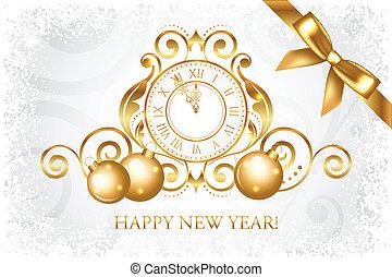 goud, &, vector, jaar, nieuw, zilver, vrolijke