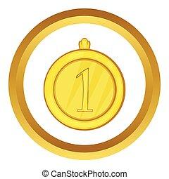 goud, vector, plek, eerst, medaille, pictogram