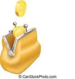 goud, veranderen, muntjes, laten vallen, in, een, buidel
