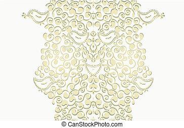 goud, verticaal, kleur, spandoek, -, floral rand, of