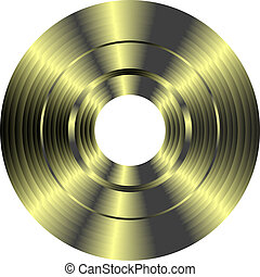 goud, vinylverslag, vrijstaand, op wit, achtergrond