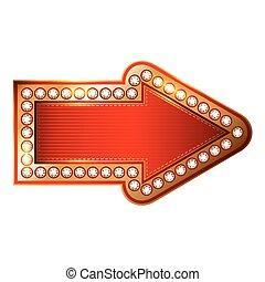 goud, vrijstaand, achtergrond., vector, richtingwijzer, ruiten, wit rood