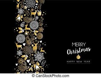 goud, vrolijk, jaar, nieuw, kerstmis, vrolijke