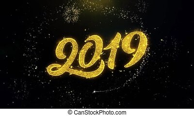 goud, vuurwerk, partikels, geschreven, het exploderen, 2019, jaar, nieuw, display, vrolijke