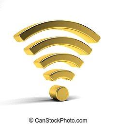 goud, wifi, symbool., illustratie, vertolking, 4g, 3d