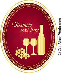 goud, wijntje, vector, etiket