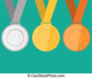 goud, winnaars, brons, champions., zilver, medailles