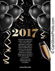goud, zich verbeelden, lucht, warme, black , jaar, baloons.,...