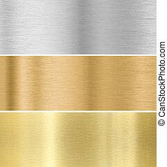 goud, zilver, brons, textuur, achtergrond, verzameling, :, ...